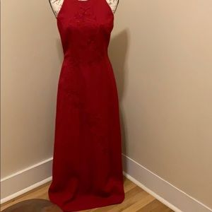 Red long cocktail dress